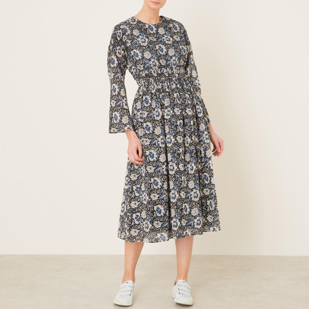 Платье длинное с рисункомДлинное платье с рисунком LAURENCE BRAS из хлопка. Круглый вырез. Эластичные сборки и складки от пояса. Длинные рукава. Состав и описание   Материал : 100% хлопок   Марка : LAURENCE BRAS<br><br>Цвет: наб. рисунок синий