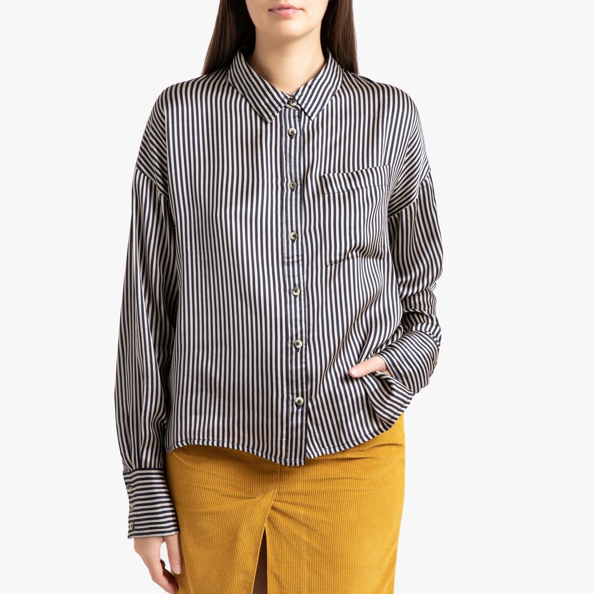 Рубашка LaRedoute В полоску с длинными рукавами CHARLOTTE S синий
