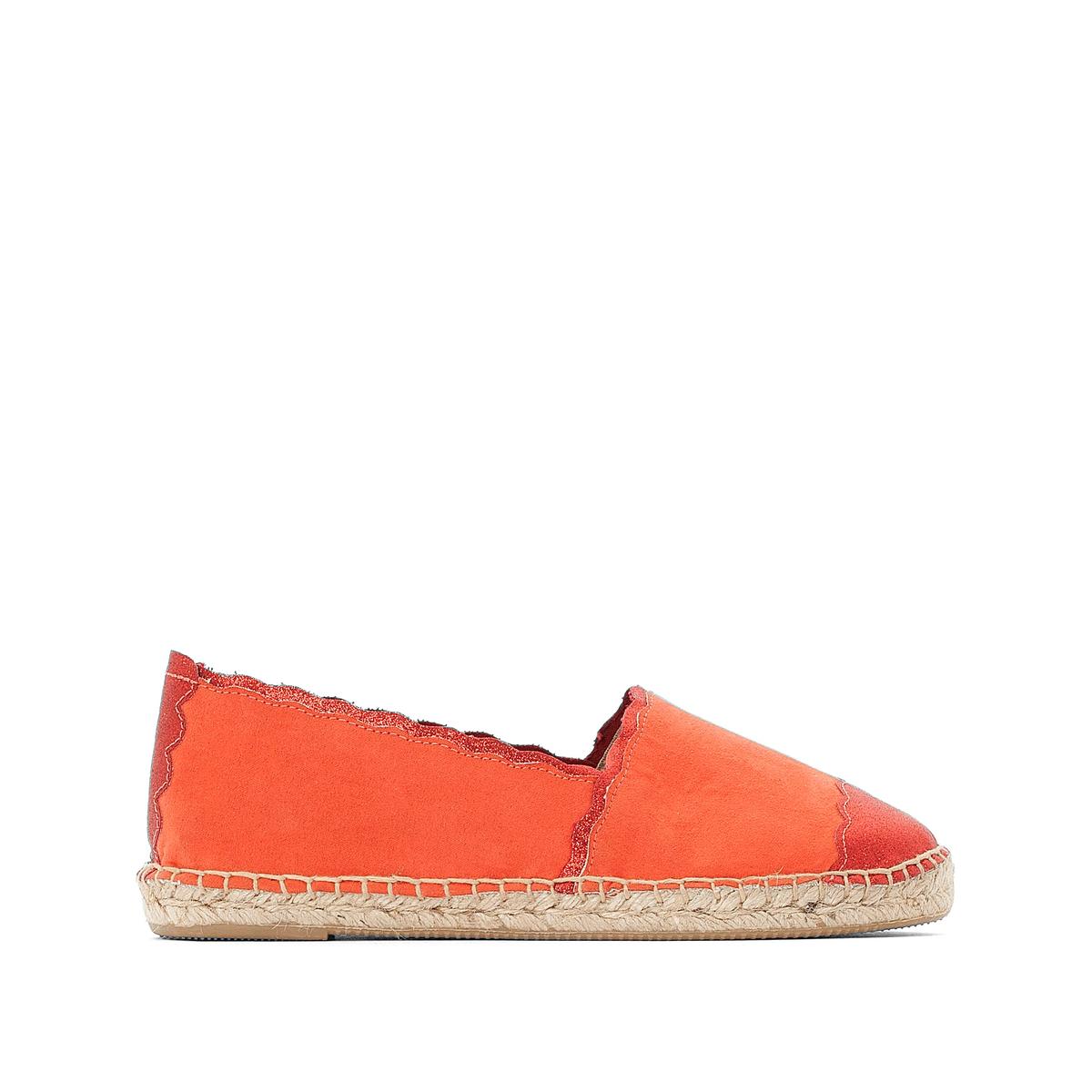 Эспадрильи La Redoute С блестящими деталями вязанными крючком 42 оранжевый туфли без задника кожаные с блестящими деталями