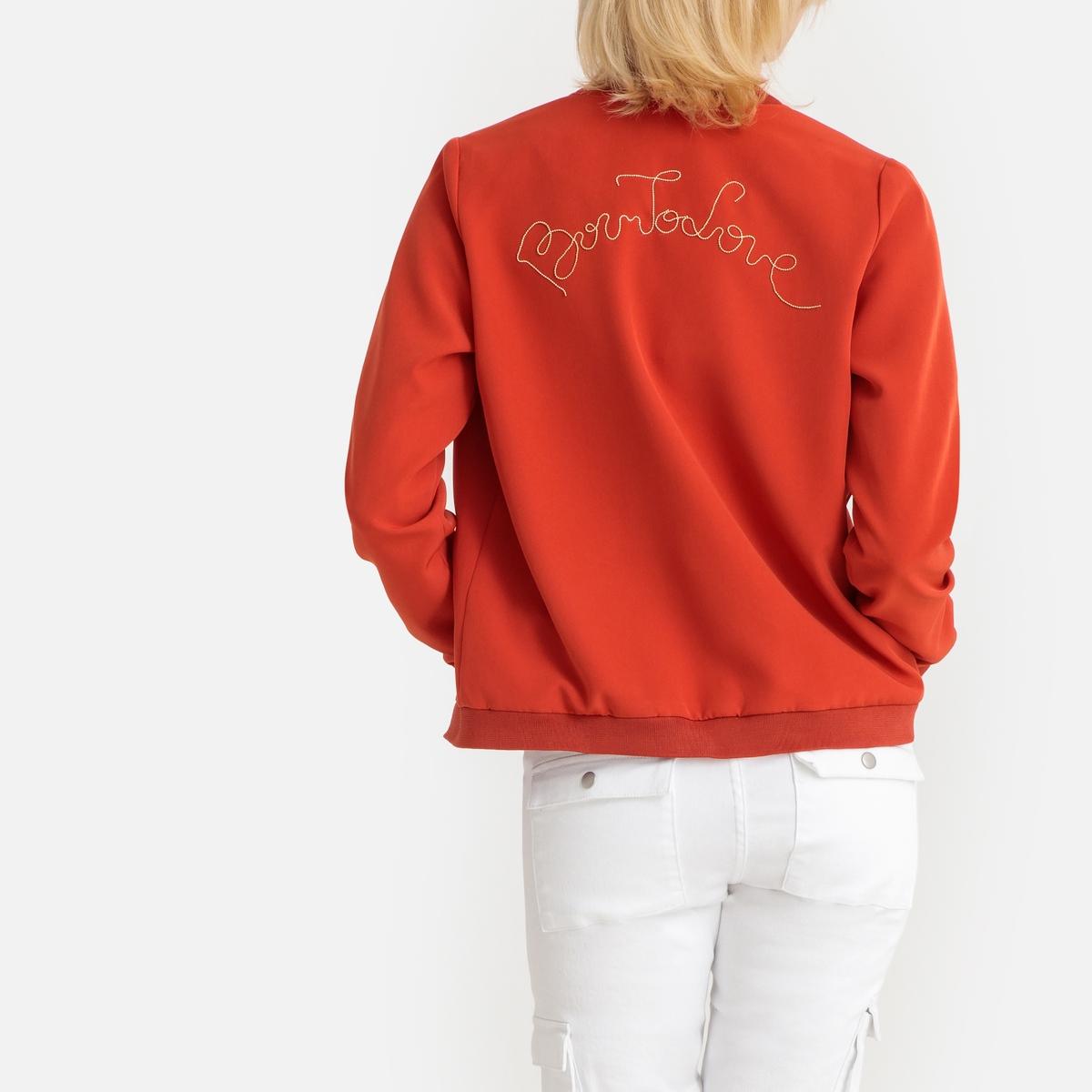 Бомбер La Redoute С надписью и вышивкой сзади S красный футболка la redoute jorquote с забавной надписью s синий