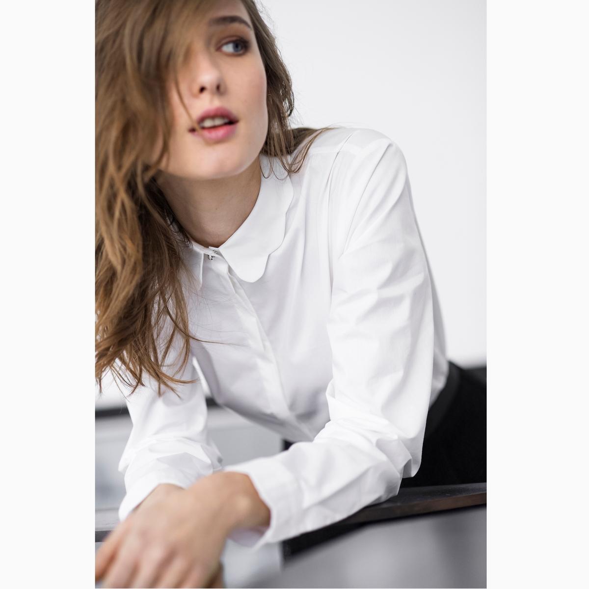 Camisa em algodão, detalhe bonito na gola