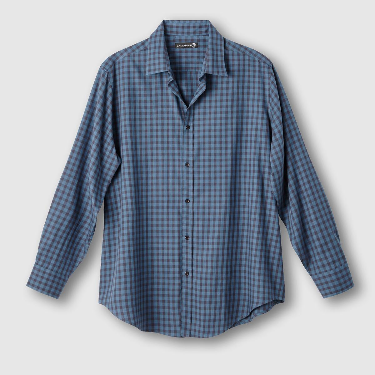 Рубашка в клеткуРубашка в клетку. Длинные рукава. 2 складки сзади для большего комфорта. Рисунок в клетку крашеной нитью,  100% хлопка. Длина 85 см .<br><br>Цвет: бордовый/ серый,синий/антрацит<br>Размер: 53/54.47/48.49/50.51/52