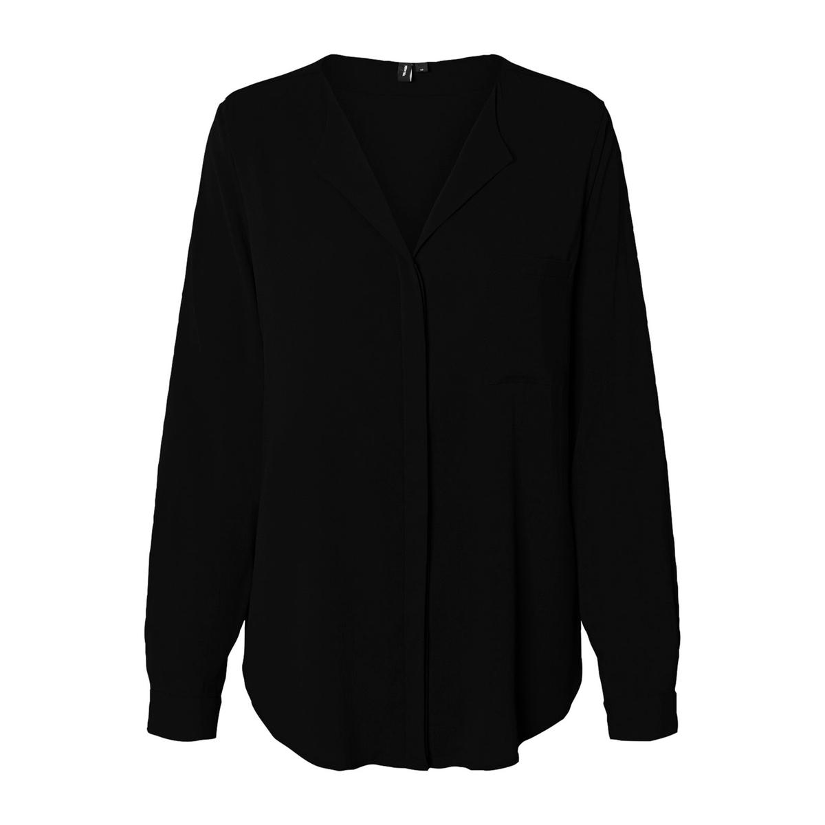 Блузка La Redoute С V-образным вырезом и длинными рукавами XS черный футболка la redoute кружевная с v образным вырезом и рукавами l черный