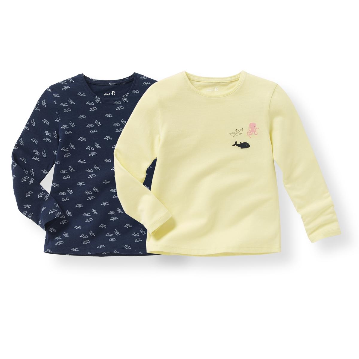 Комплект из 2 футболок с длинными рукавами, 3-12 летСостав и описание : Материал        джерси, 100% хлопокМарка       R ?ditionУход: :Машинная стирка при 30 °C с вещами схожих цветов.Стирать и гладить с изнаночной стороны.Машинная сушка в умеренном режиме.Гладить на низкой температуре.<br><br>Цвет: желтый + темно-синий<br>Размер: 10 лет - 138 см