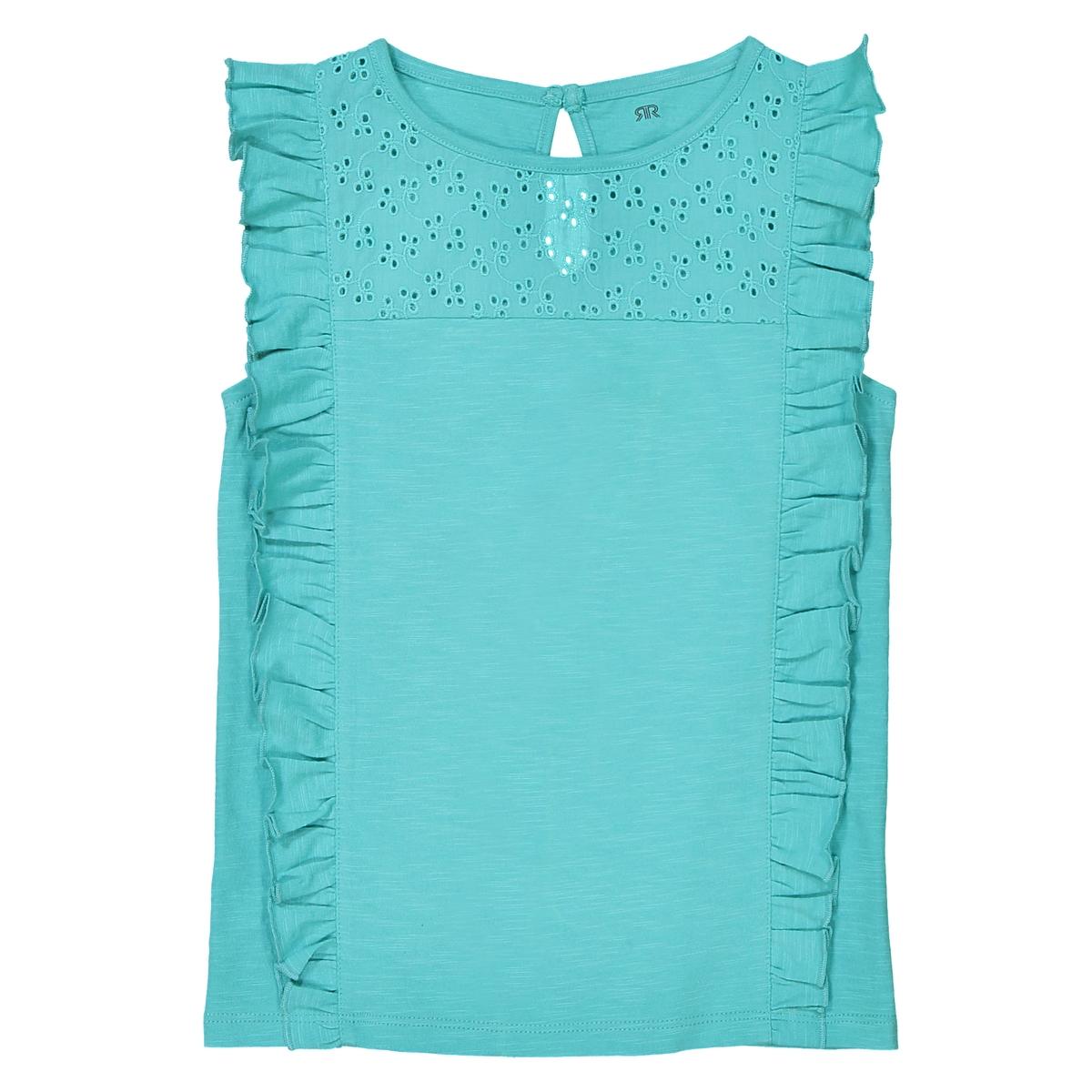 Топ с воланами и вышивкой, 3-12 лет футболка с вышивкой и воланами 3 12 лет