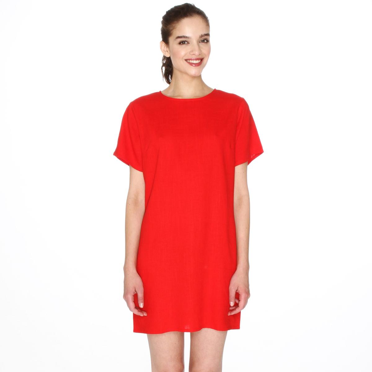 Платье прямое с короткими рукавамиДетали   •  Форма :прямая  •  короткое  •  Короткие рукава    •  Круглый вырез Состав и уход  •   45% прочих волокон, 55% полиамида  • Просьба следовать советам по уходу, указанным на этикетке изделия<br><br>Цвет: красный<br>Размер: XS