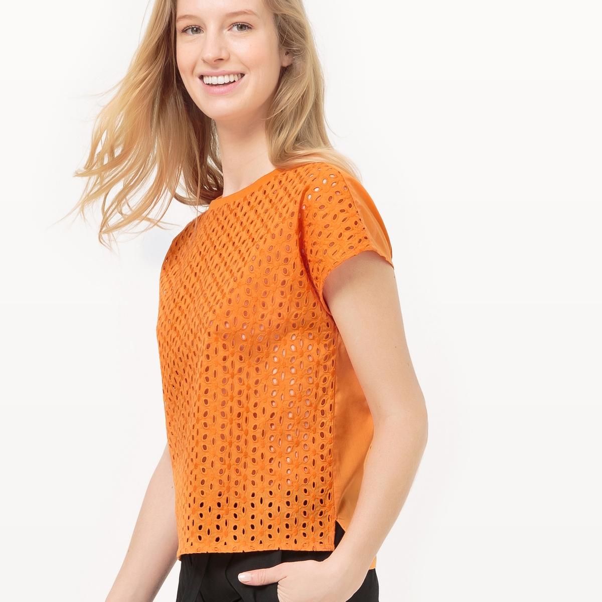 Блузка с короткими рукавами и английской вышивкой