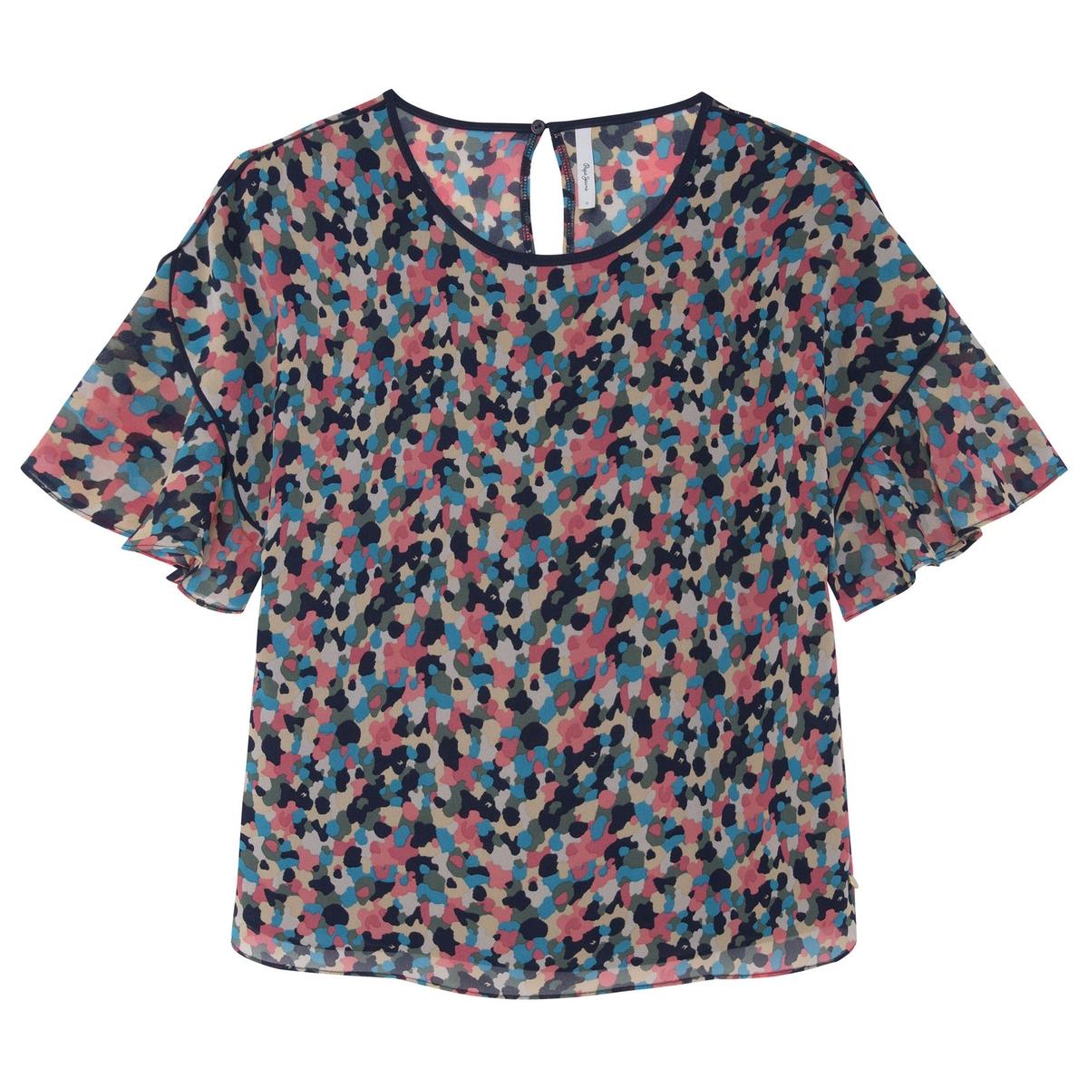 Blusa estampada con cuello redondo Marlene