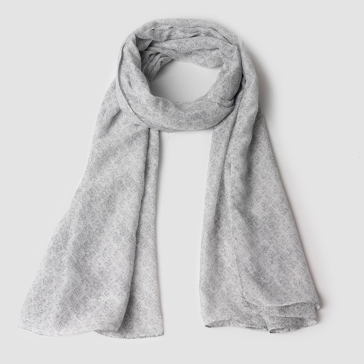Длинный легкий шарф с рисунком<br><br>Цвет: светло-серый
