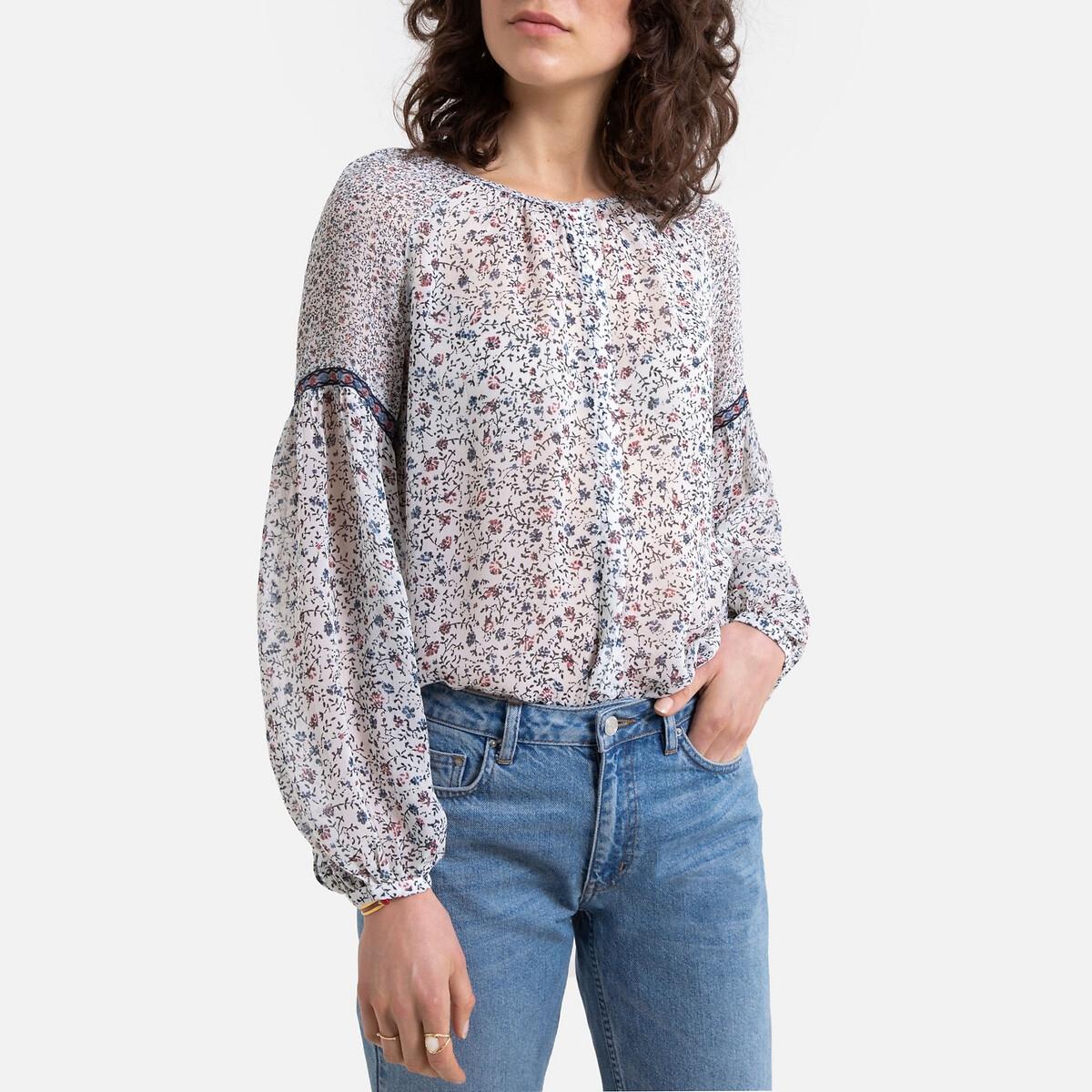 Блузка La Redoute С цветочным рисунком и длинными рукавами XS бежевый юбка la redoute короткая расклешенная с цветочным рисунком и оборками на поясе xs бежевый