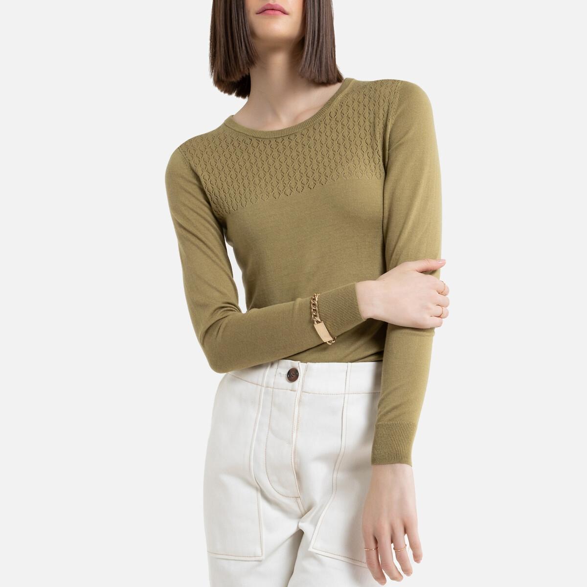 Jersey con cuello redondo de punto fino calado