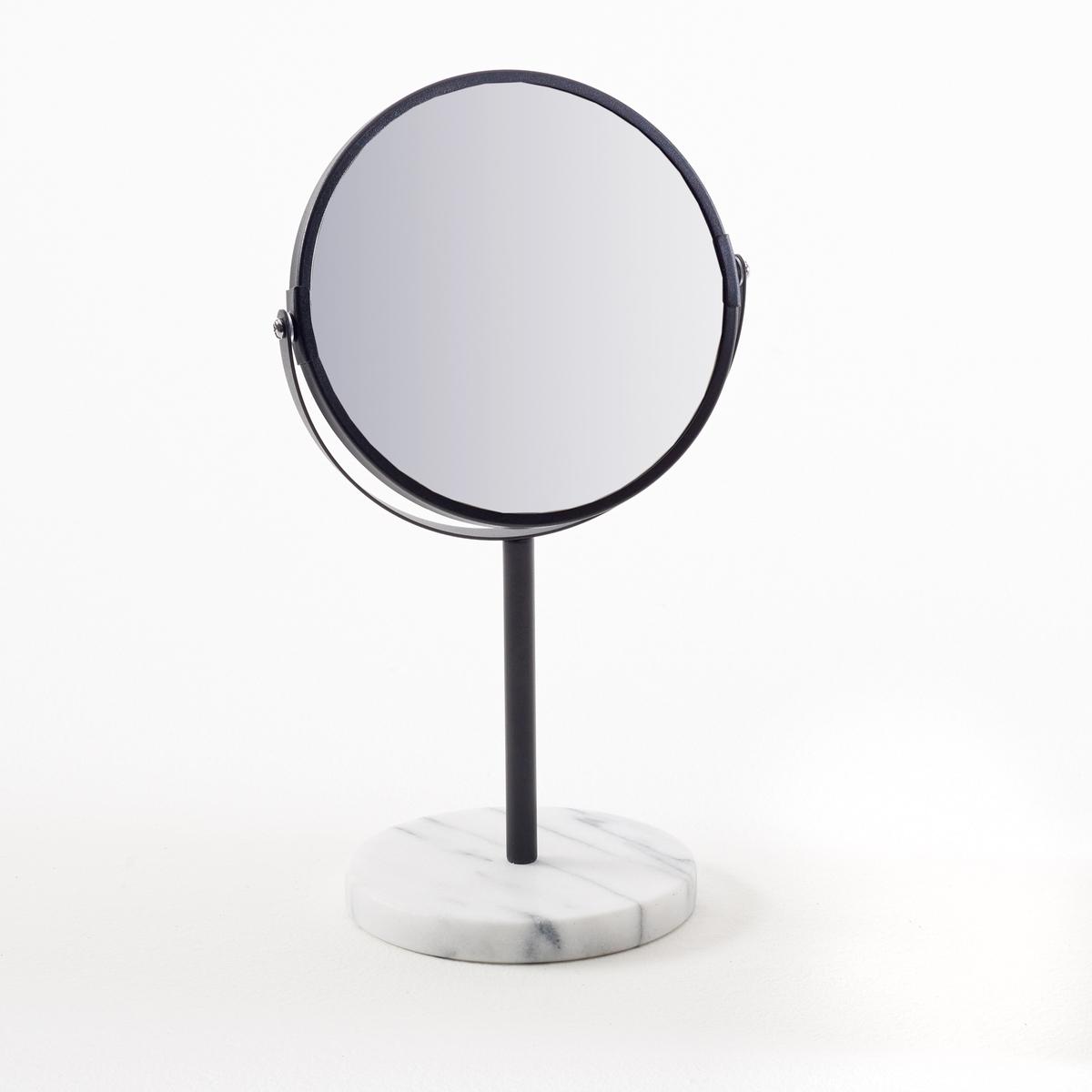 Зеркало с мраморным цоколем SeliasХарактеристики зеркала Selias:                                         Круглое основание из белого мрамора.Круглое поворотное зеркало.                                       Размеры зеркала Selias:Цоколь: ?14,5 см.Зеркало: 18 x 0,2 см.Высота: 34,5 см.Размеры и вес в упаковке:1 упаковка.23 x В.24 x Г.8,5 см.1,4 кг.<br><br>Цвет: черный