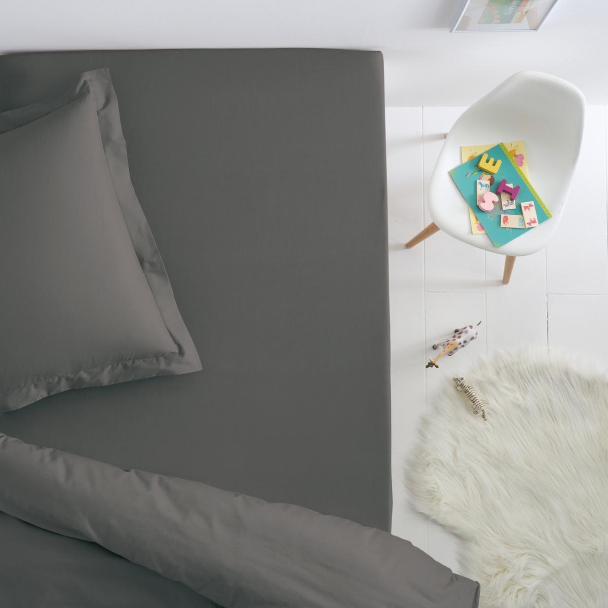 Простыня La Redoute Натяжная из хлопка для детской кровати SCENARIO 80 x 190 см серый подушка для изголовья кровати 100% хлопокscenario