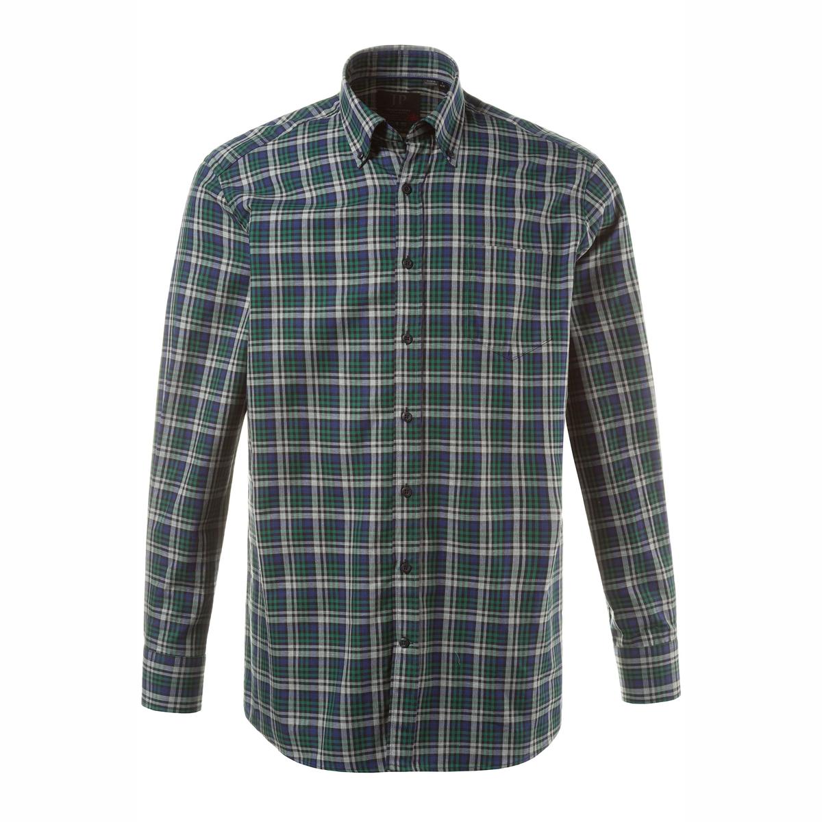 Рубашка с длинными рукавамиРубашка с длинными рукавами JP1880. Уголки воротника на пуговицах, нагрудный карман. Удобный покрой. Длина в зависимости от размера ок. 82-96 см. 100% хлопок.<br><br>Цвет: в клетку<br>Размер: 4XL