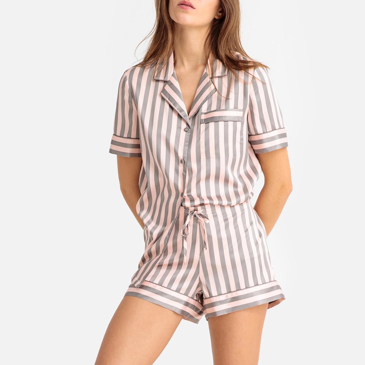 Pijama con short a rayas