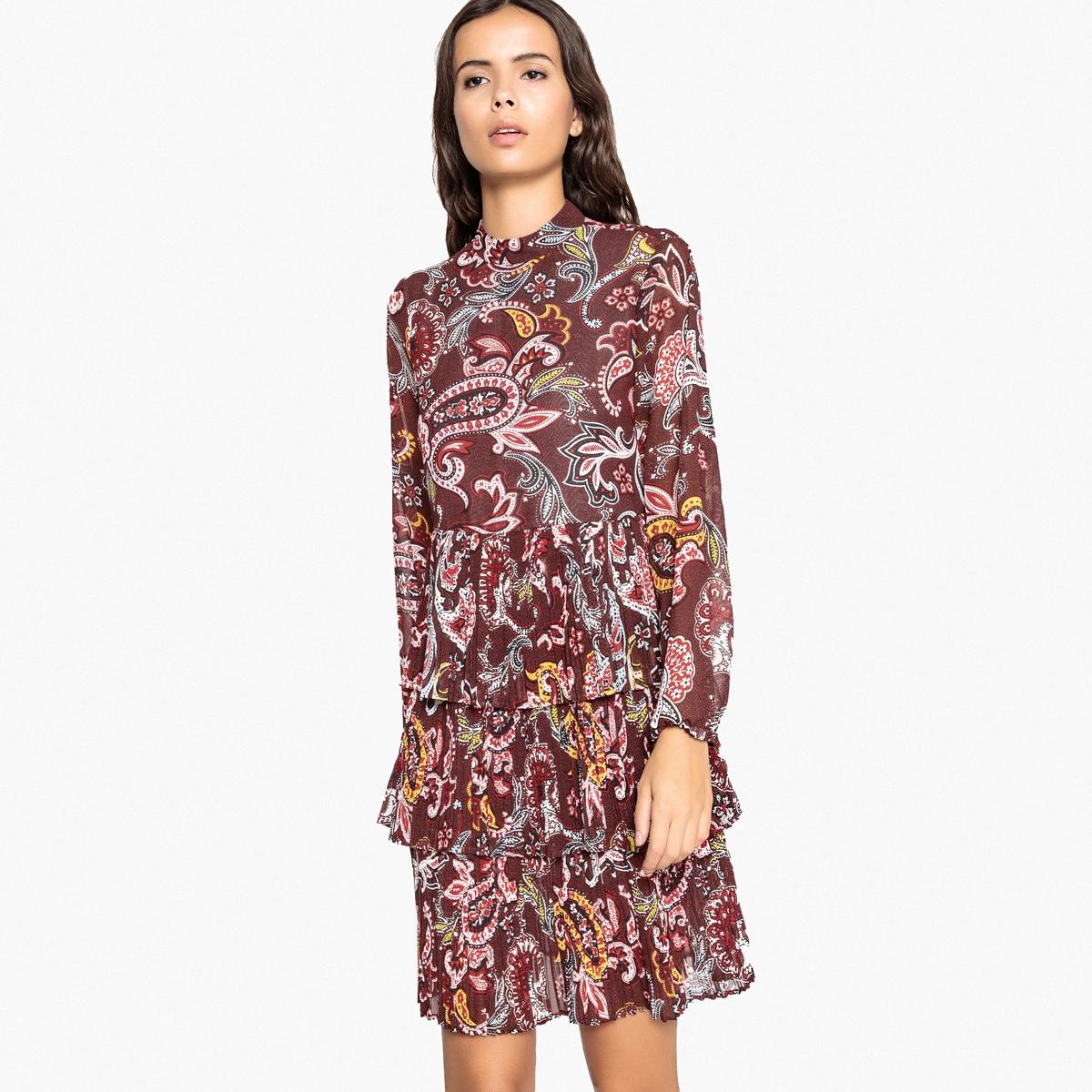 Платье с кашемировым рисунком и плиссированными воланами платок с кашемировым рисунком и кисточками