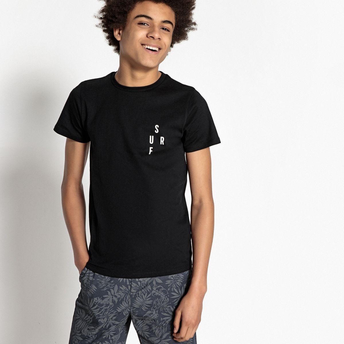 T-shirt col rond avec message SURF 10-16 ans