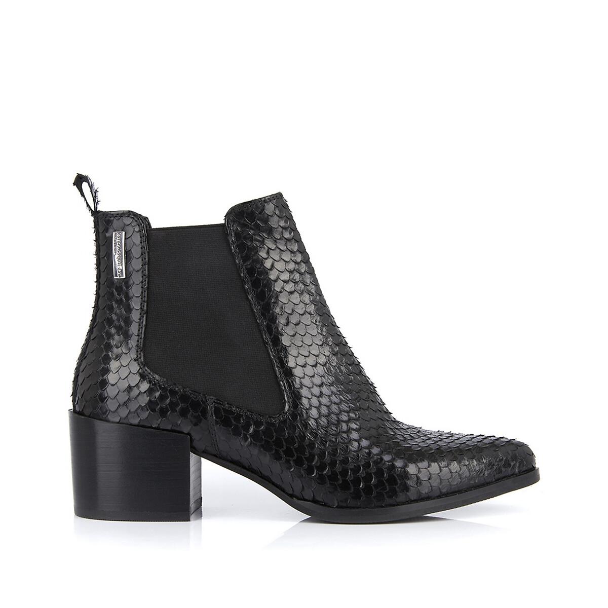 Kiwi Snake-Effect Leather Boots