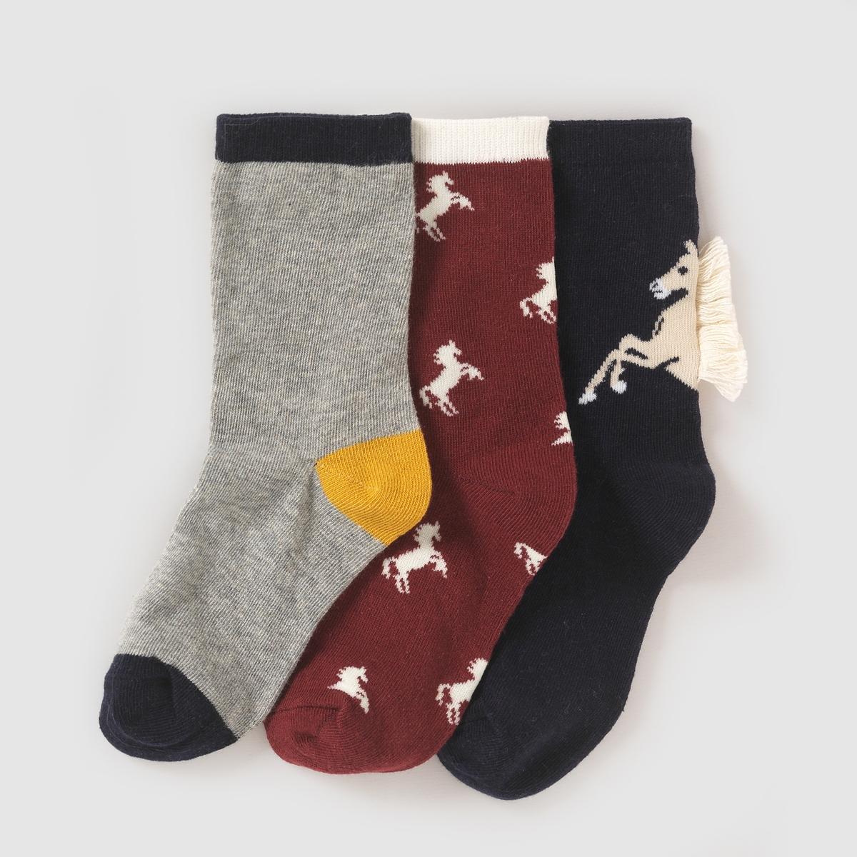 3 пары носков с рисунком лошадки