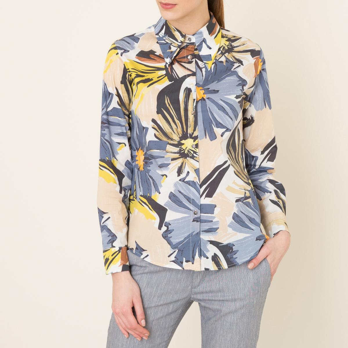 Рубашка с рисункомРубашка NIU - с принтом, из струящейся вуали. Рубашечный воротник с длинными кончиками . Застежка на пуговицы спереди. Длинные рукава, манжеты с застежкой на пуговицу. Отрезные детали сзади.Состав и описание Материал : 97% хлопка, 3% эластана Марка : NIU<br><br>Цвет: горчичный,синий