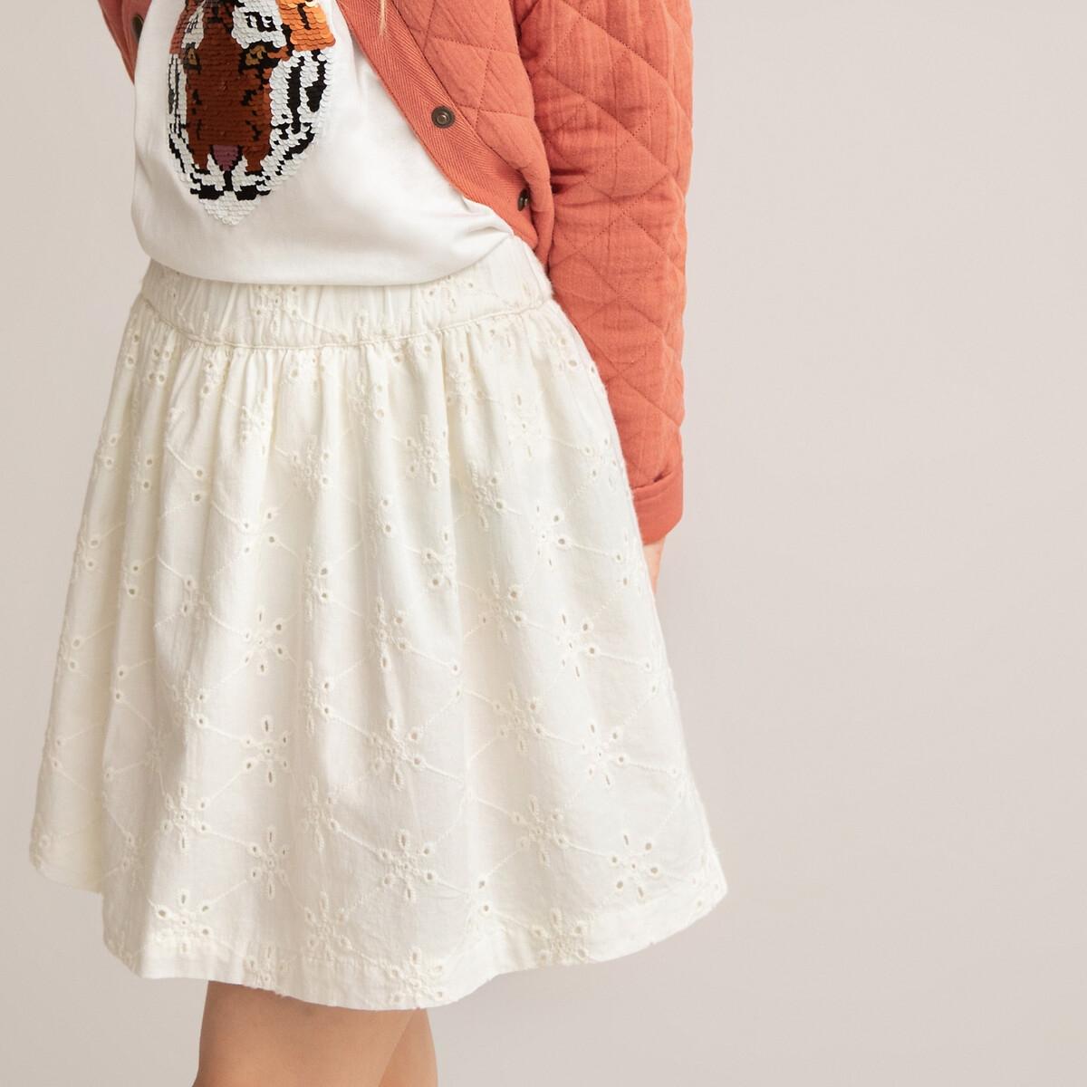 Фото - Юбка LaRedoute Короткая из английской вышивки 3-12 лет 8 лет - 126 см бежевый рубашка laredoute джинсовая 3 12 лет 8 лет 126 см синий