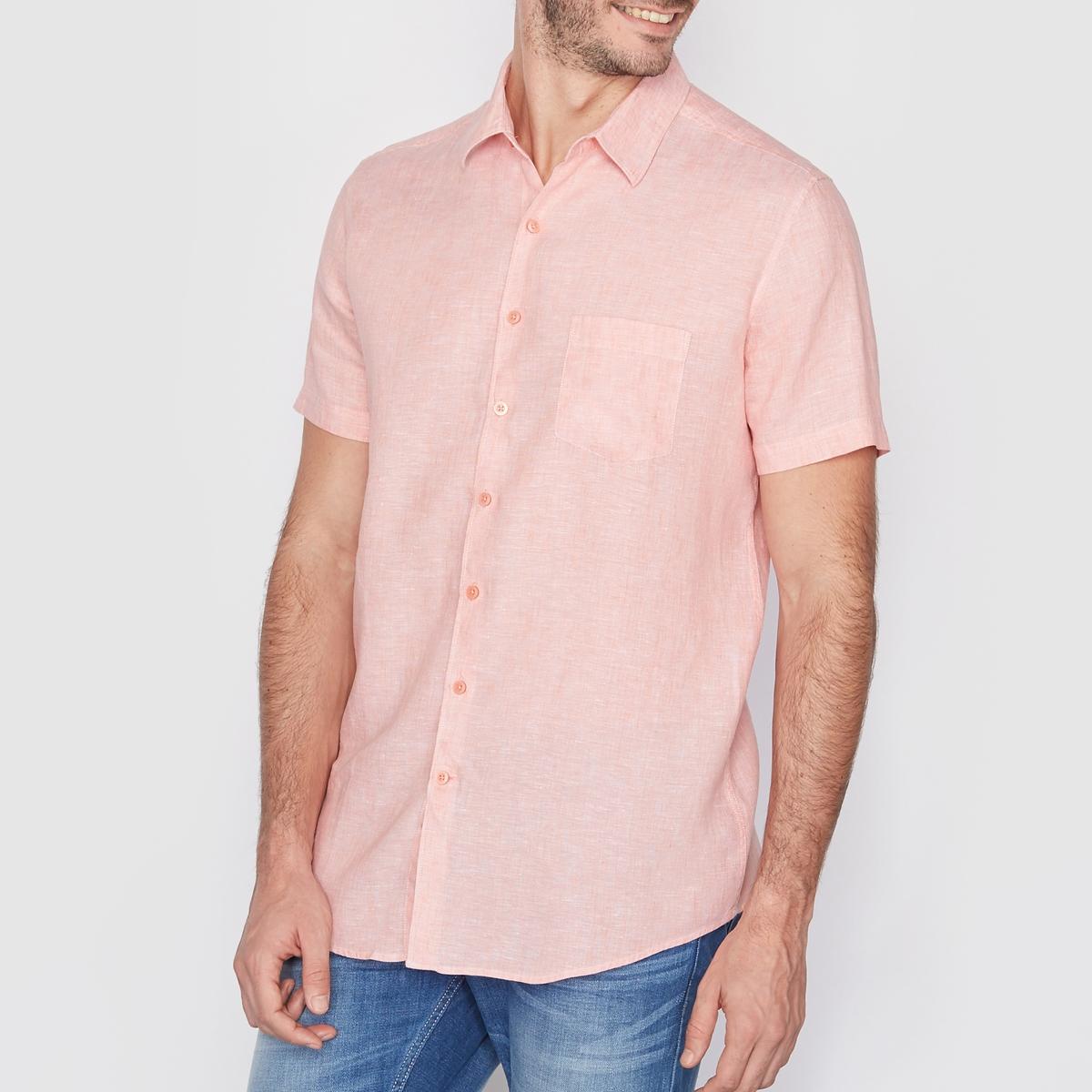 Рубашка прямого покроя с короткими рукавами, 100% ленРубашка, 100% лен. Прямой покрой. Воротник со свободными уголками. Короткие рукава. Длина 77 см.<br><br>Цвет: оранжевый меланж<br>Размер: 37/38