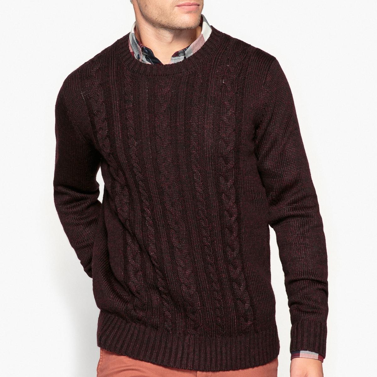 цены Пуловер с круглым вырезом и рисунком косы