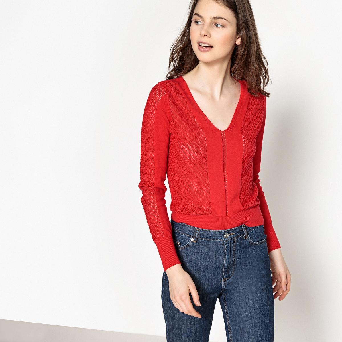 цены Пуловер с V-образным вырезом и длинными рукавами из тонкого ажурного трикотажа
