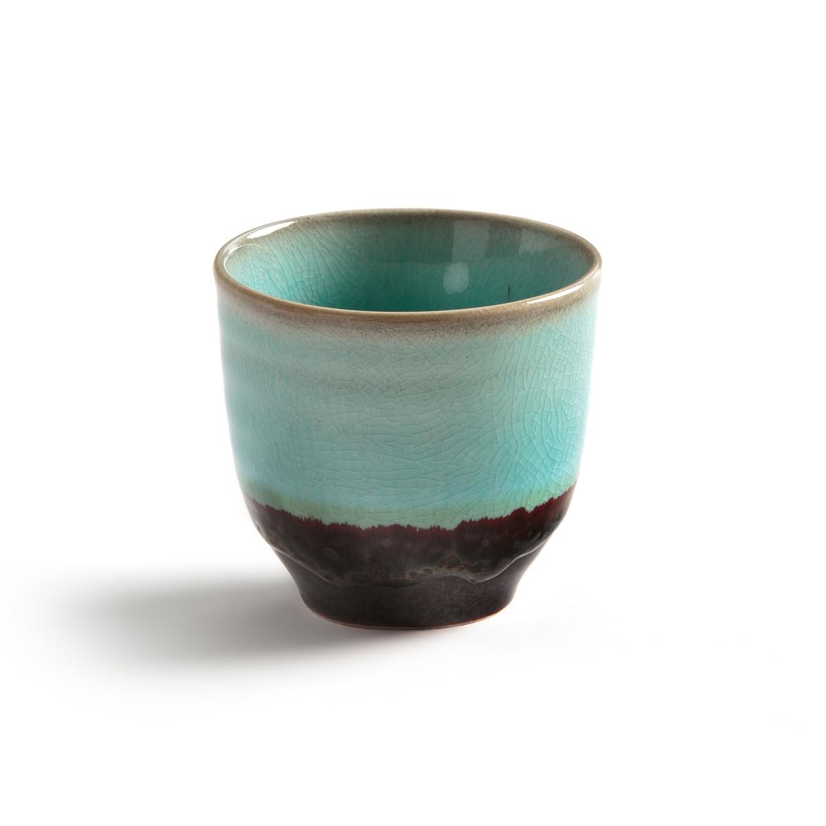 4 чашки из керамики, Rolkolo4 чашки  Rolkolo . Из эмалированной керамикис рисунком облако синего цвета и земля. Без ручки для большей легкости . Подходит для мытья в посудомоечной машине. Размеры : ?7,5 x 7,5 см.<br><br>Цвет: синий/ каштан<br>Размер: единый размер