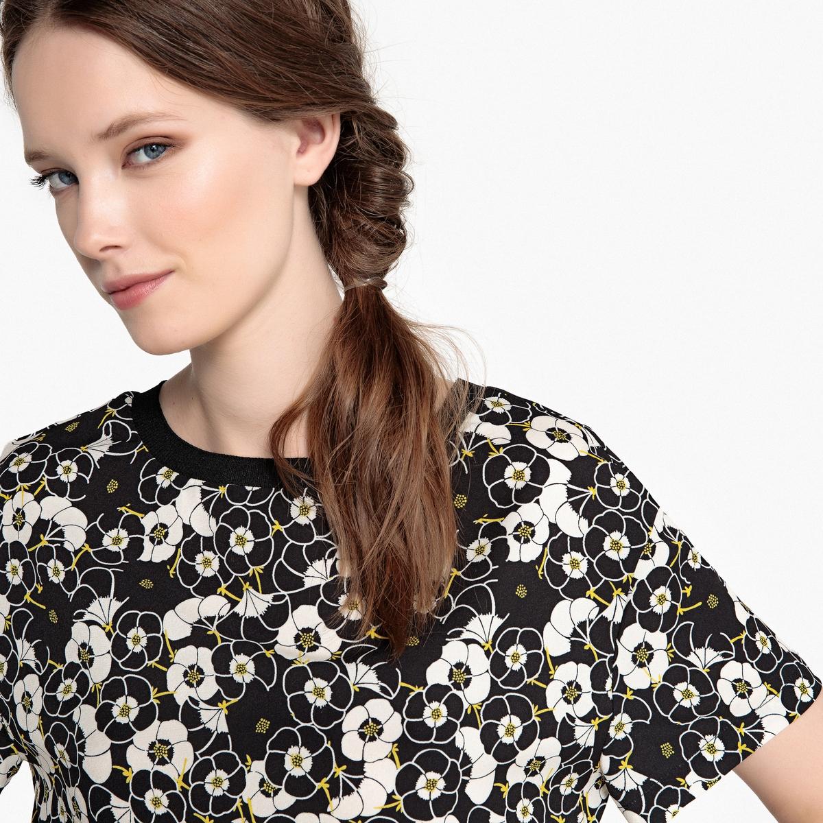 Blusa con cuello redondo y estampado de flores, manga corta