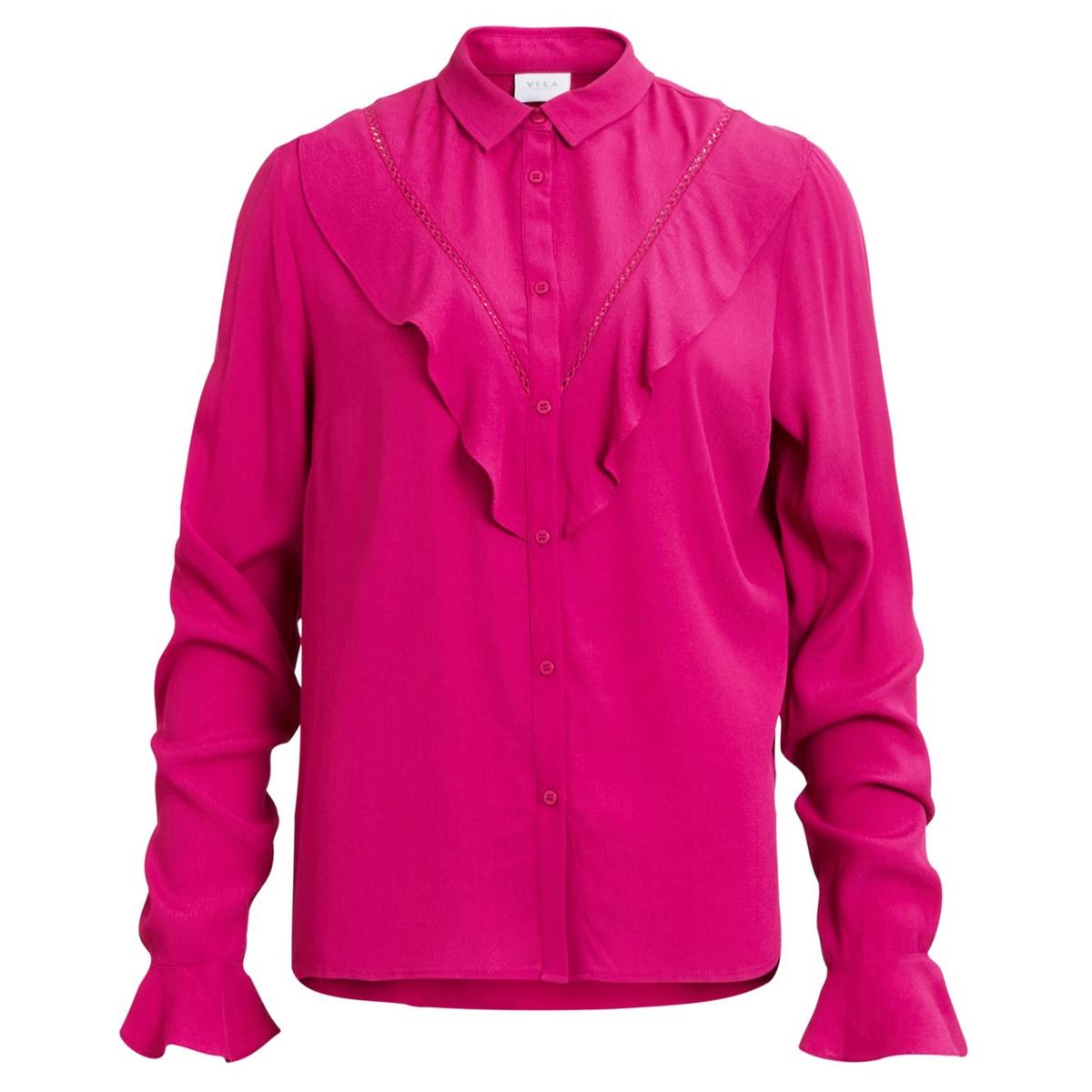 Рубашка с воротником-стойка с длинными рукавамиОписание:Детали •  Длинные рукава •  Прямой покрой •  Стоячий воротникСостав и уход •  100% вискоза  •  Следуйте советам по уходу, указанным на этикетке<br><br>Цвет: фуксия