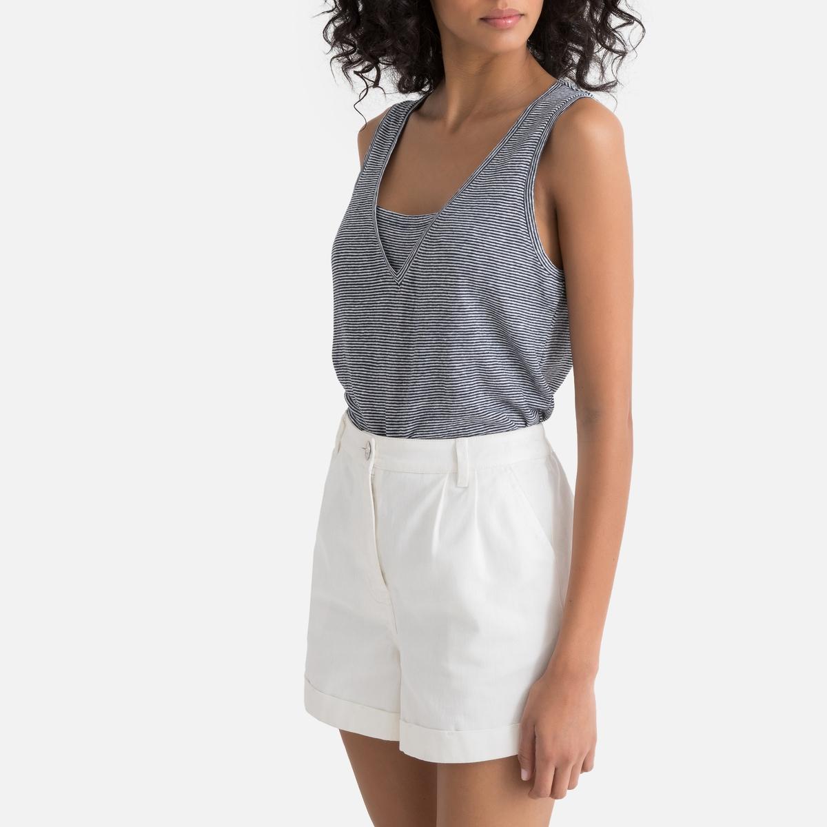 Camiseta sin mangas de rayas finas 100% lino