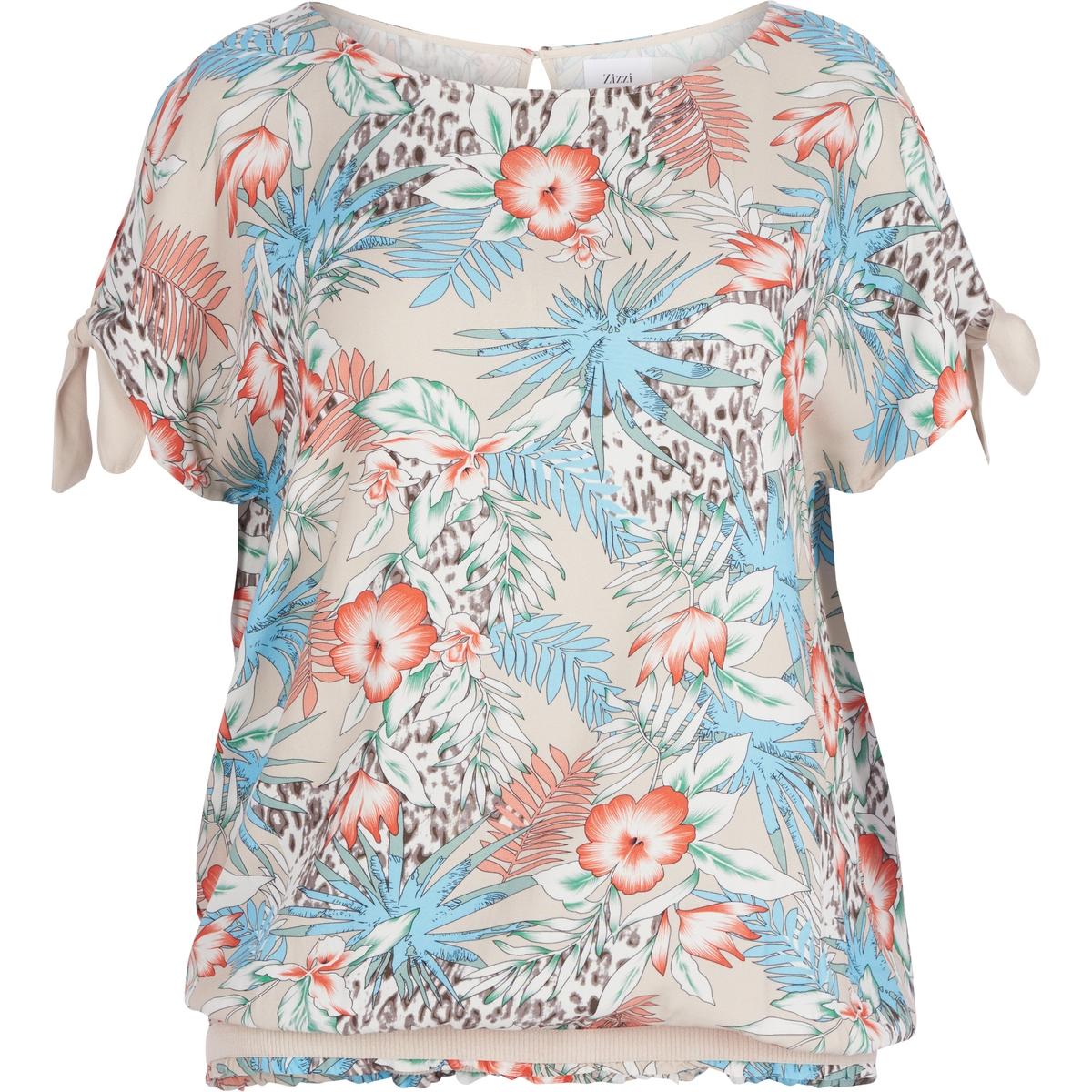 БлузкаБлузка с принтом ZIZZI . Короткие рукава. Красивый вырез на спине. 100% вискоза<br><br>Цвет: набивной рисунок,цветочный рисунок