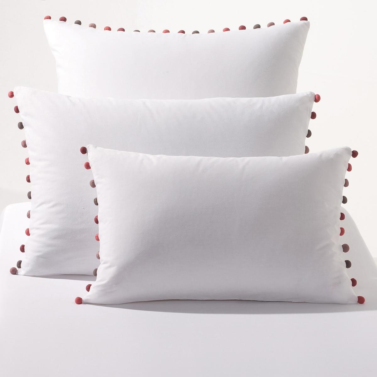 Комплект из 2 наволочек Patati из перкалиРазмеры: 50 x 70 см: прямоугольная 65 x 65 см: квадратная.<br><br>Цвет: белый,угольно-серый