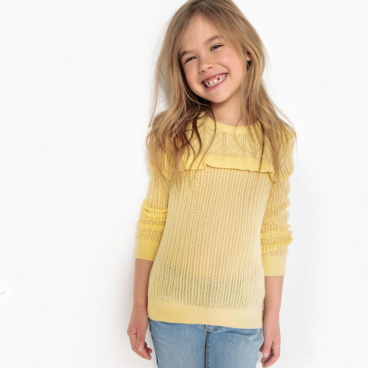 Пуловер из трикотажа с воланами 3-12 лет