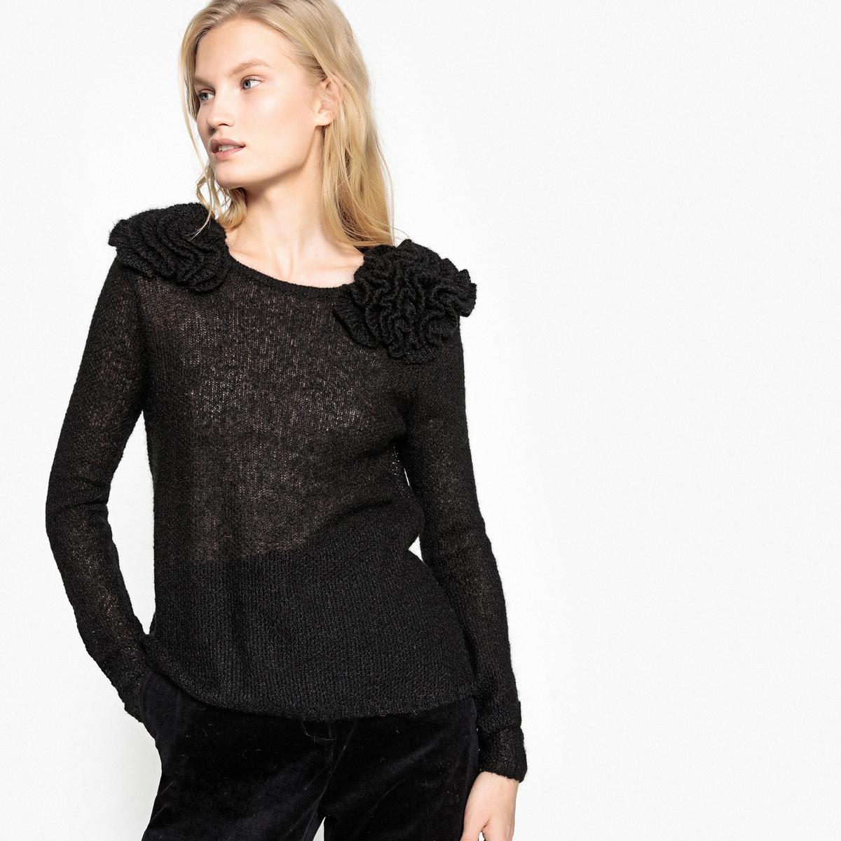 Пуловер La Redoute С круглым вырезом и деталями в виде цветов L черный пуловер la redoute с круглым вырезом из шерсти мериноса pascal 3xl черный