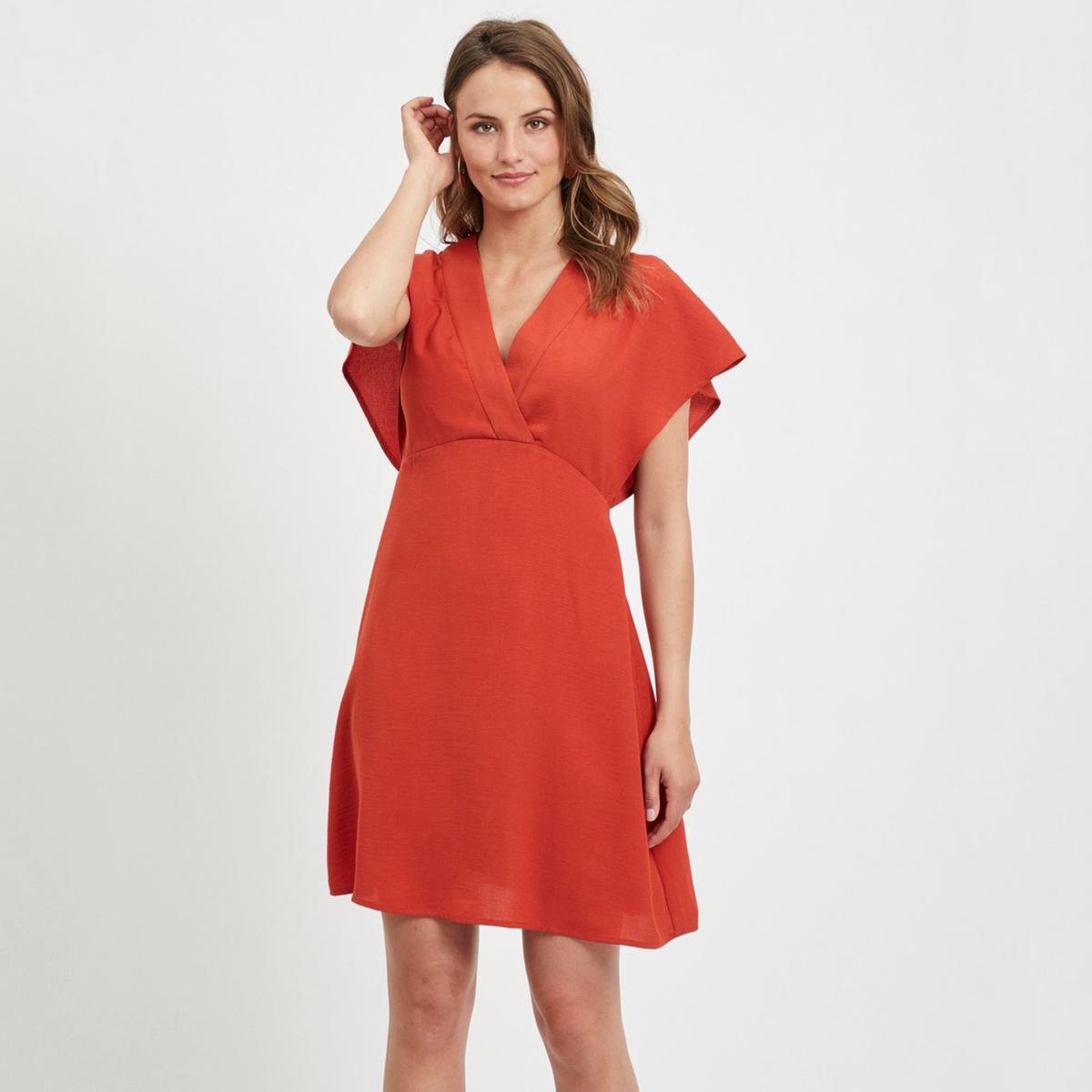 Платье La Redoute Короткое расклешенное с короткими рукавами 36 (FR) - 42 (RUS) красный платье миди la redoute расклешенное с короткими рукавами 42 fr 48 rus красный