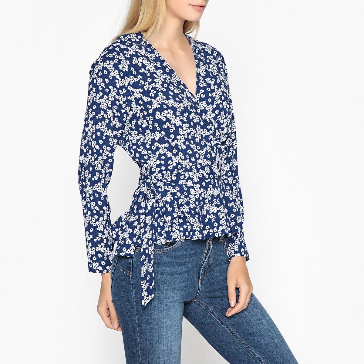 Блузка с V-образным вырезом и длинными рукавами блузка с рисунком из струящейся ткани