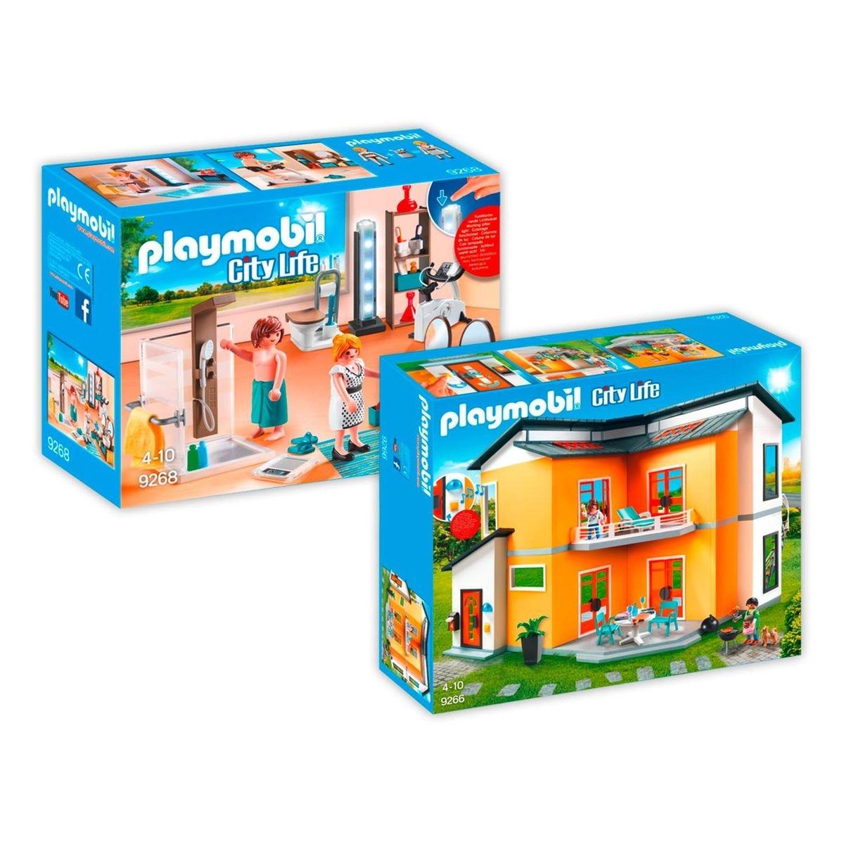 Playmobil 9266 9368 Maison Moderne 2 Boites 9266 9268 Couleur