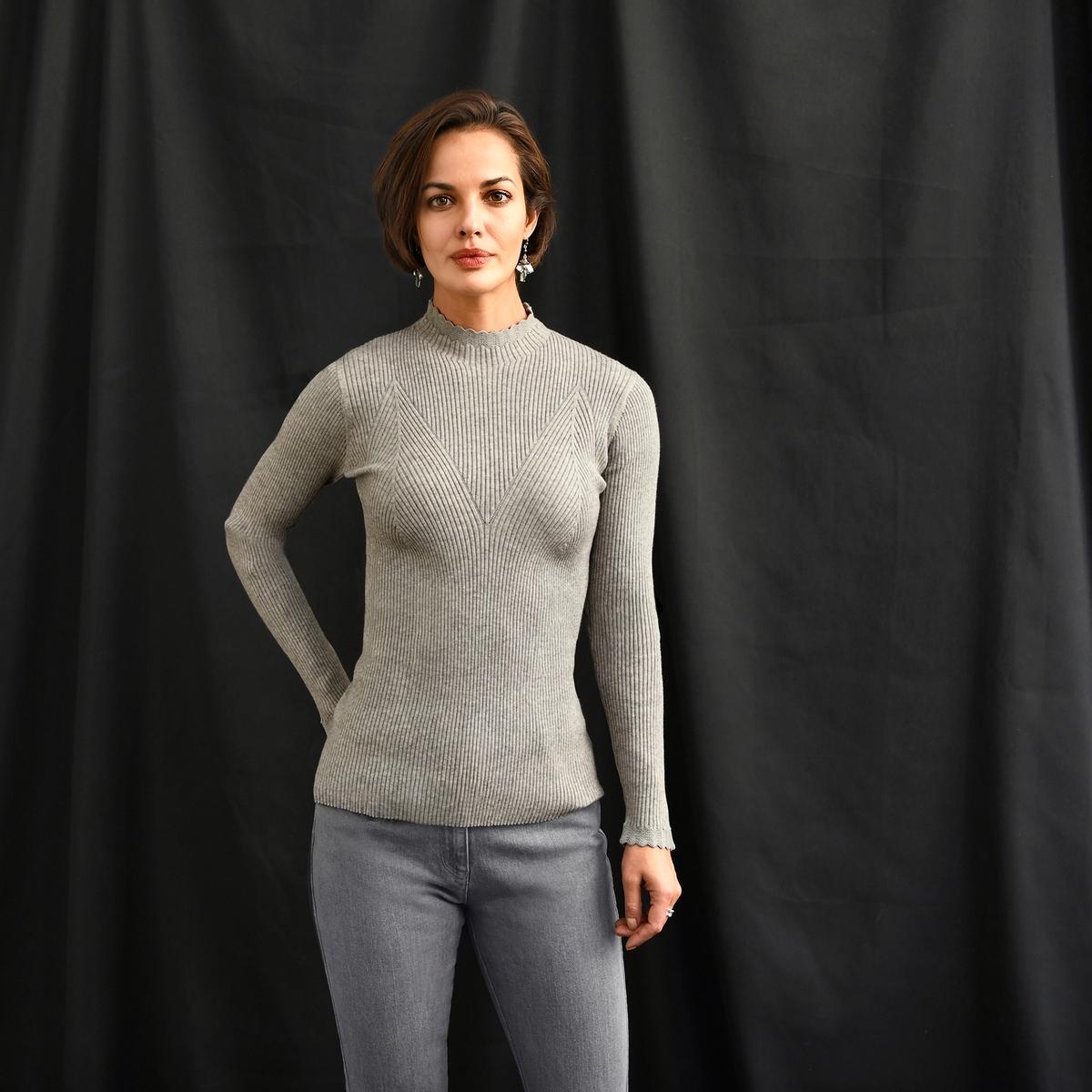 Imagen principal de producto de Jersey de punto de canalé, con cuello alto y manga larga - Anne weyburn