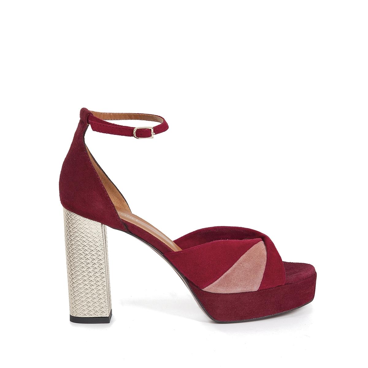 Туфли кожаные велюровые EvelineВерх : Кожа.   Подкладка : Кожа.   Стелька : Кожа.   Подошва : Кожа.   Высота каблука : 10 см   Форма каблука : квадратный.   Мысок : закругленный   Застежка : ремешок.<br><br>Цвет: бордовый<br>Размер: 39
