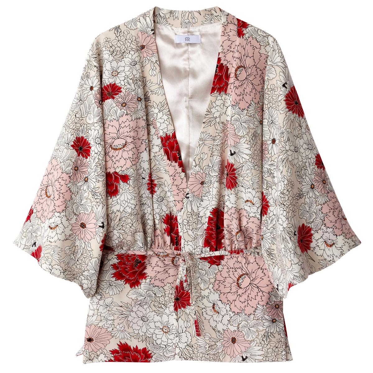 Kimono corto estampado de flores