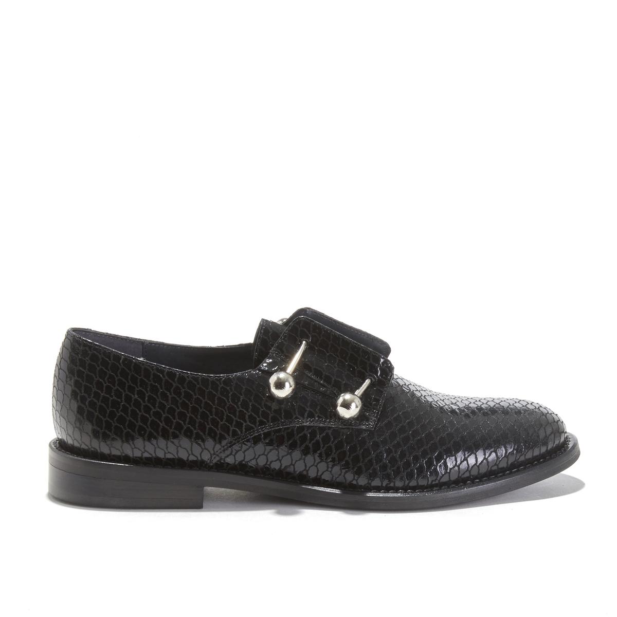 цена Ботинки-дерби La Redoute Кожаные под кожу крокодила DUTHEN 40 черный онлайн в 2017 году