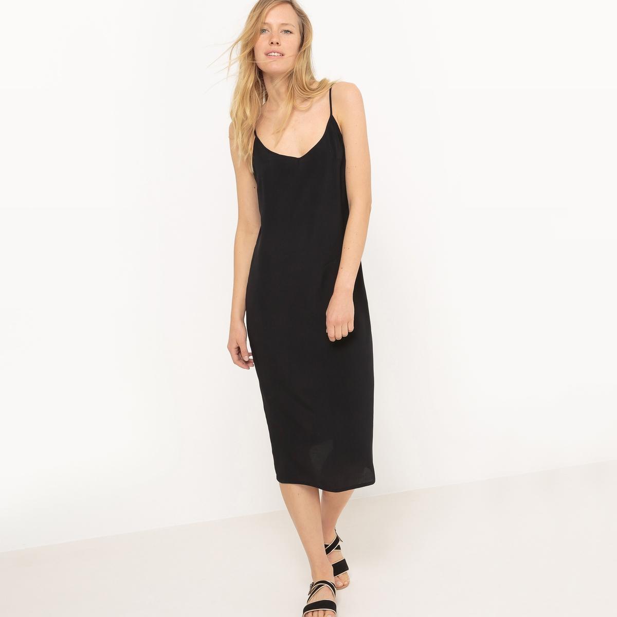 Платье длинное с тонкими бретелями из крепа, 100% вискоза