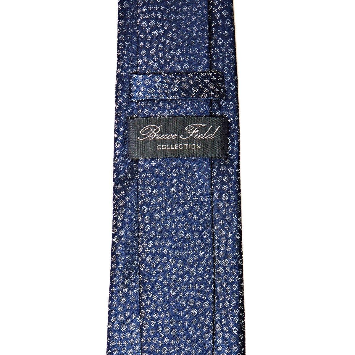 Cravate pure soie marine à motifs flocons