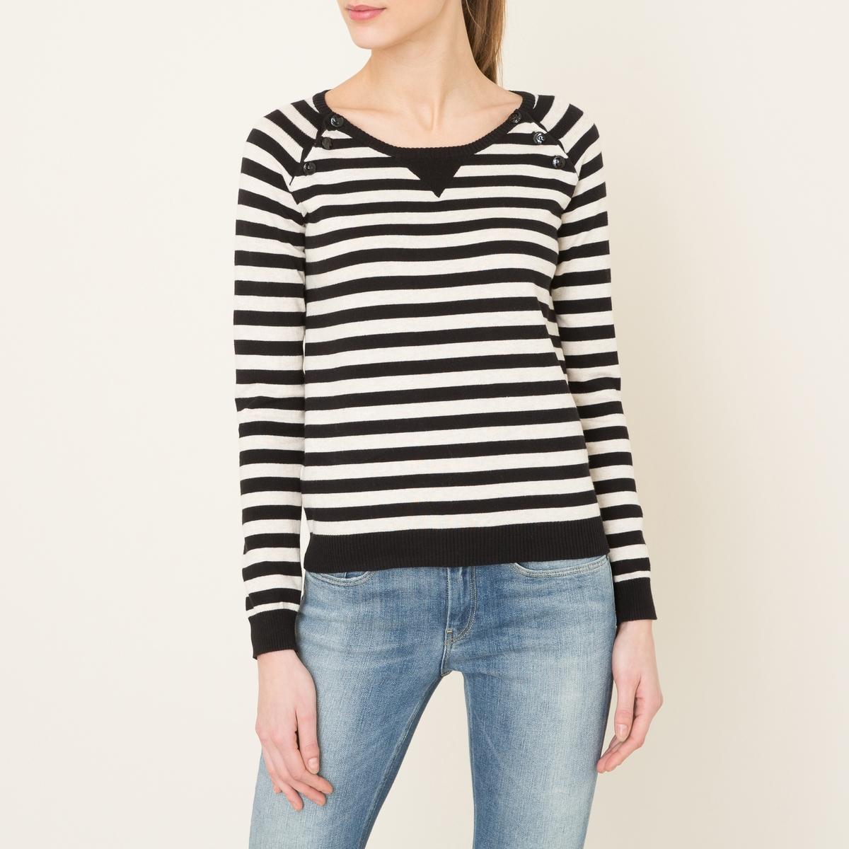 Пуловер в полоску в морском стилеСостав и описание    Материал : 100% хлопок Марка : MAISON SCOTCH<br><br>Цвет: экрю/ темно-синий