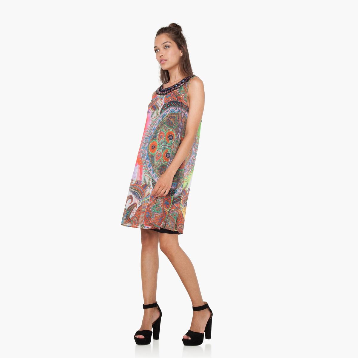 Платье короткое без рукавов с рисункомДетали  •  Форма : средняя •  Короткое •  Без рукавов    •  Круглый вырез •  Рисунок-принт Состав и уход •  100% полиэстер •  Следуйте советам по уходу, указанным на этикетке<br><br>Цвет: разноцветный<br>Размер: 38 (FR) - 44 (RUS)