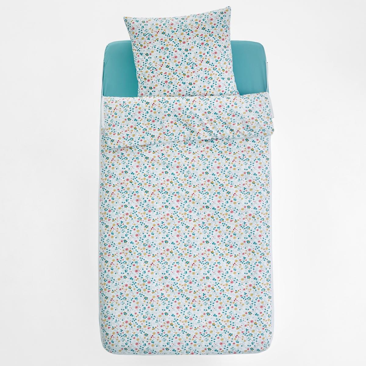 Комплект постельный без одеяла ILLONAПостельный комплект без одеялаILLONA. Идеален для двухъярусных кроватей или для организации дополнительного спального места! Пододеяльник и натяжная простыня соединены между собой молнией.Характеристики постельного комплекта ILLONA : •  Размер 90 x 140 см: 1 пододеяльник 90 x 140 см + 1 натяжная простыня 90 x 140 см + 1 наволочка 63 x 63 см. •  Размер 90 x 190 см: 1 пододеяльник 90 x 190 см + 1 натяжная простыня 90 x 190 см + 1 наволочка 63 x 63 см.Состав постельного комплекта ILLONA : •  100% хлопок плотного плетения, 57 нитей/см? : чем больше нитей/см?, тем выше качество материала.Легкость ухода : •  Машинная стирка при 60° •  Легко гладитьВсе постельные комплекты с рисунком Вы найдете на сайте laredoute .ru Размеры : •  90 x 140 см: раскладная кровать •  90 x 190 см: 1-сп.Комплект подходит для кроватей с надувными матрасами Intex.<br><br>Цвет: цветочный рисунок