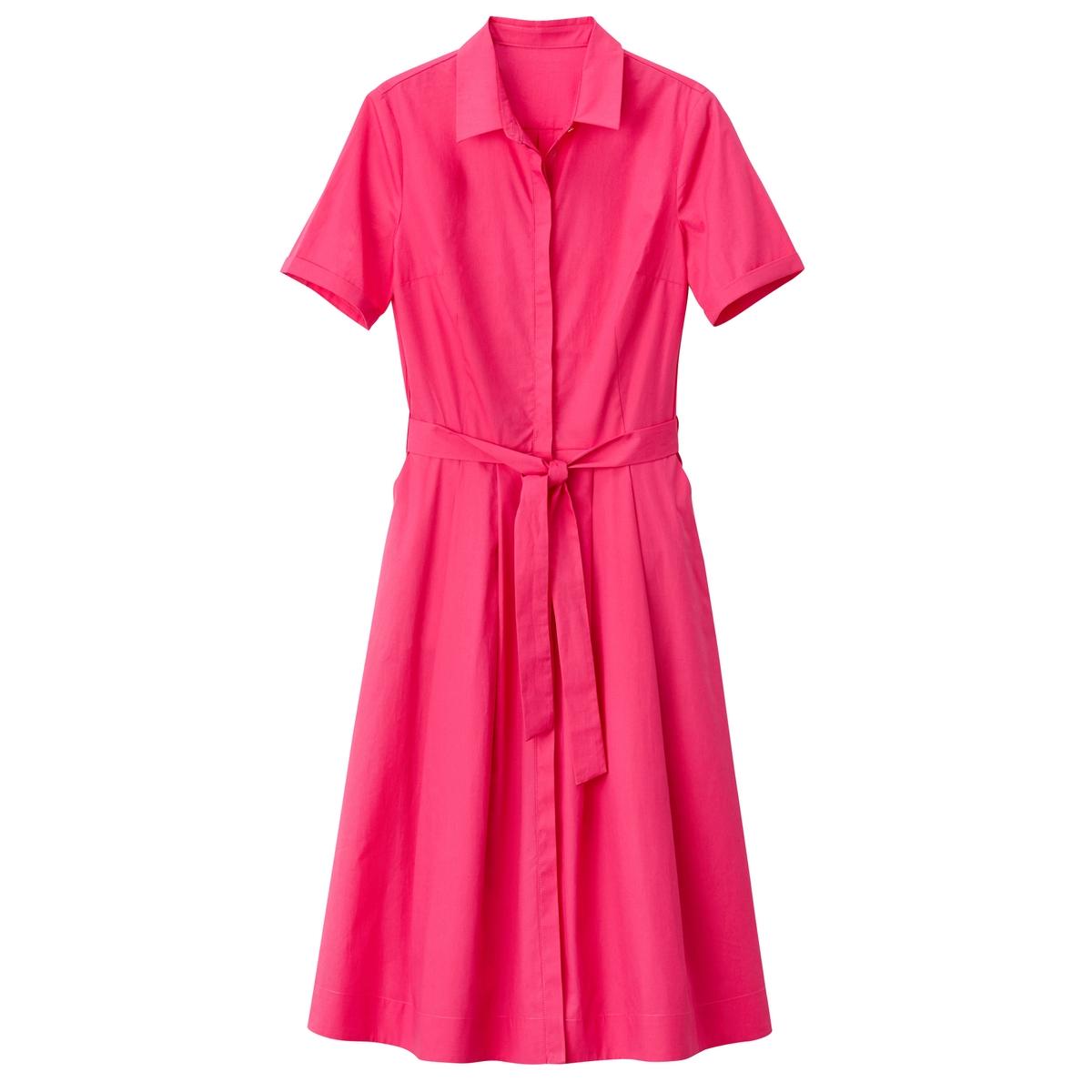 Купить со скидкой Платье-рубашка расклешенное с поясом