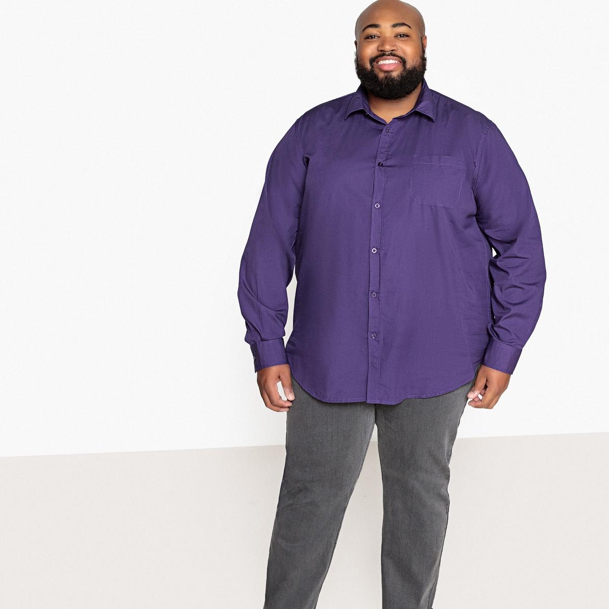 Рубашка La Redoute Однотонная с длинными рукавами из коллекции больших размеров 49/50 фиолетовый